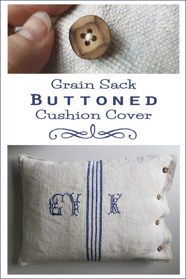 The House that Will | Buttoned Grain Sack Cushion Cover