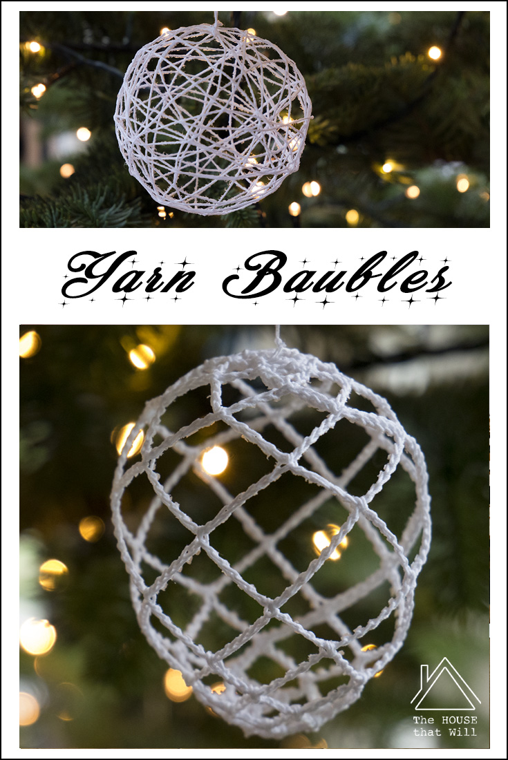 The House that Will blog | DIY Christmas crafty yarn string crochet baubles decorations