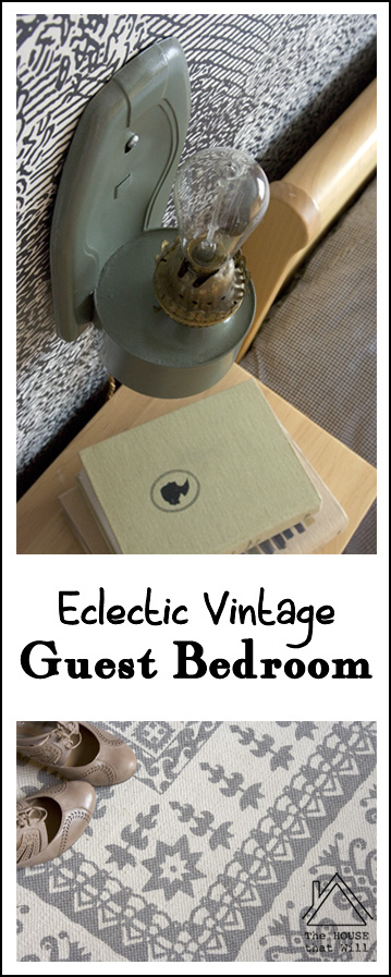 Eclectic Vintage Stencil Mural Guest Bedroom