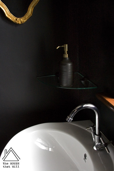 Black Gold Dark Glam Loo Powder Room Half Bath Bathroom Makeover Reveal