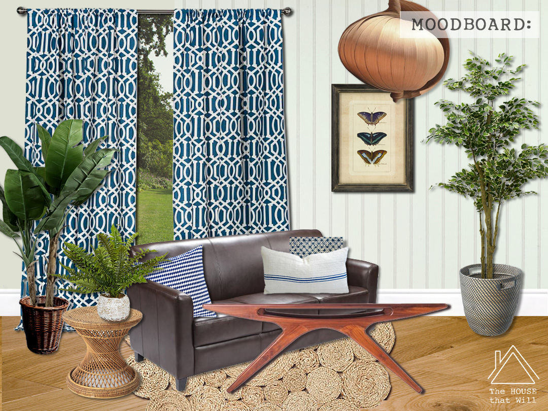 The House that Will | One Room Challenge - Sun Lounge Makeover - Week 1 (Before) ... eclectic mid-century boho farmhouse moodboard