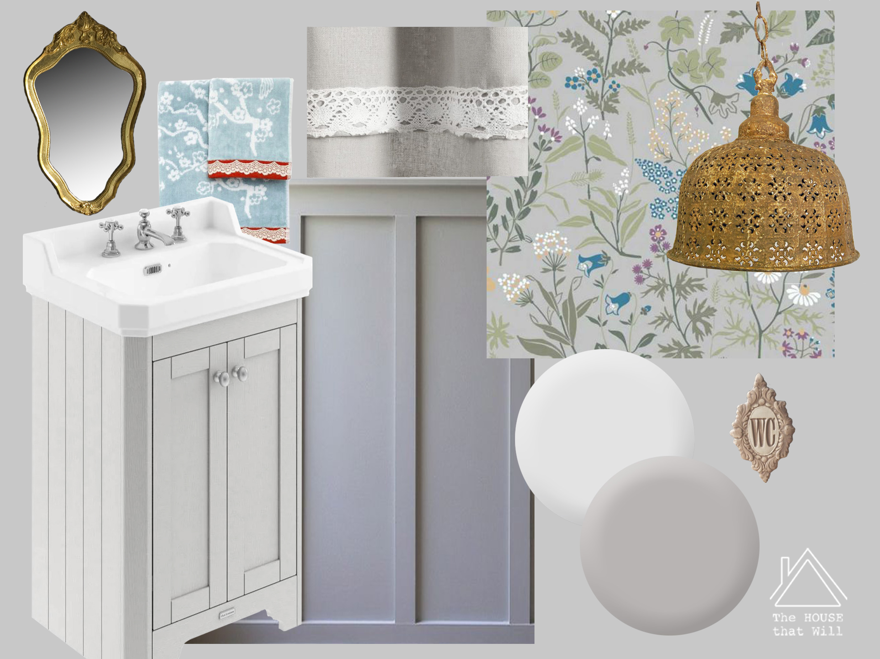 The House that Will | One Room Challenge, Downstairs Loo Moodboard'