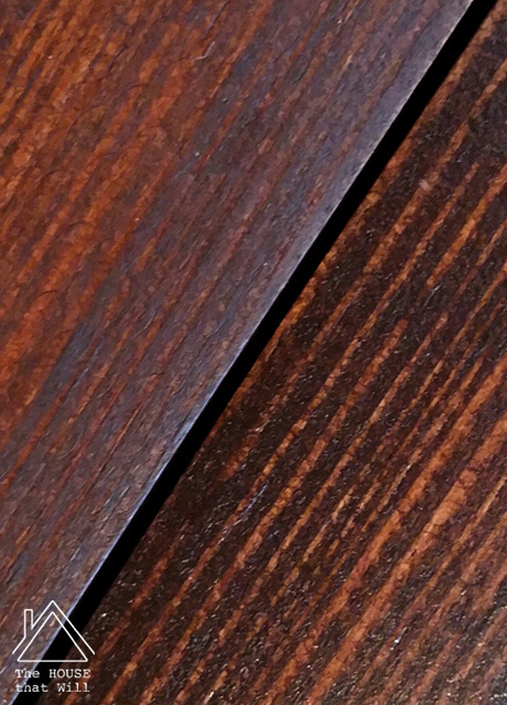 The House that Will | Orange pine woodwork transformation using dark oil-based gel stain