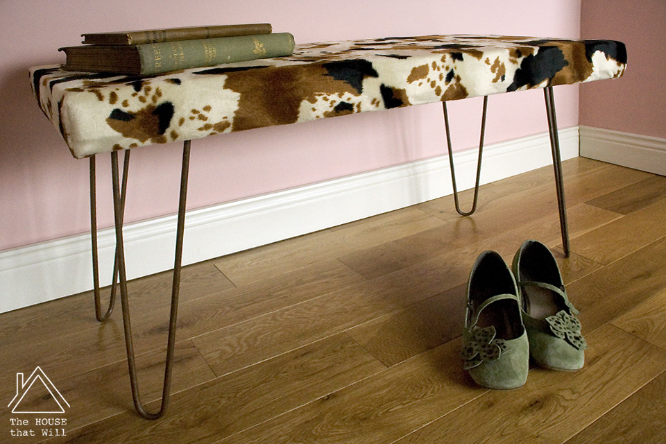 DIY Faux Cowhide Upholstered Padded Bench with Hairpin Legs