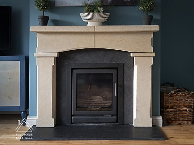 DIY Stone & Slate Fireplace