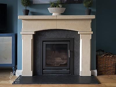 DIY Stone & Slate Fireplace